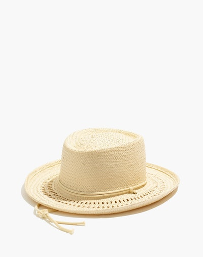 Curved-Brim Straw Hat