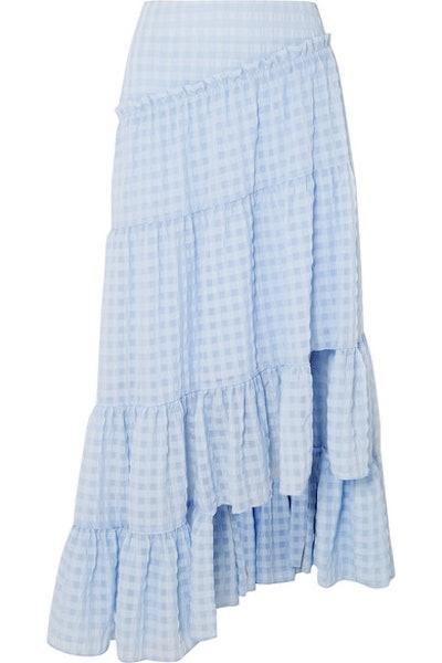 Asymmetric Tiered Seersucker Skirt