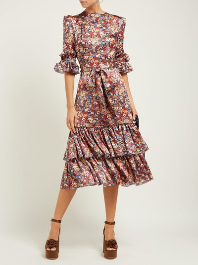 Veneration Floral-Print Silk-Charmeuse Midi Dress