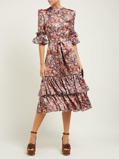 Veneration Floral-Print Silk-Charmeuse Midi Dress