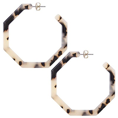 Wowshow Geometric Octagon Hexagon Hoop Earrings
