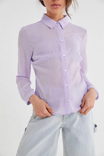 Cora Crinkle Button-Down Shirt