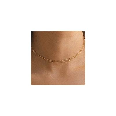 Mevecco Gold Chain Choker Necklace
