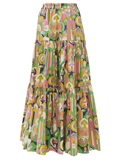 Abstract-Print Tiered Cotton Maxi Skirt
