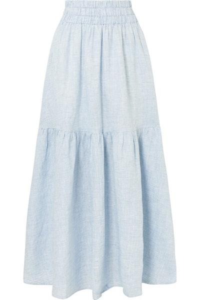 Carmen Tiered Striped Hemp Maxi Skirt