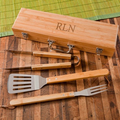 Personalized BBQ Grilling Set with Bamboo Case