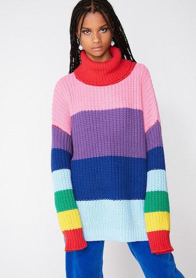 Lazy Rainbow Roll Neck Sweater