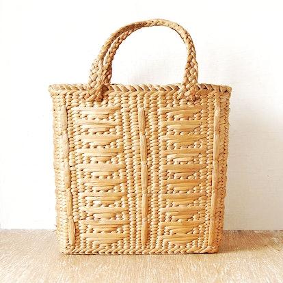 Vintage Woven Straw Shopping Handbag