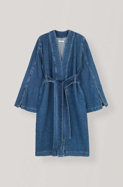 Blue Washed Denim Wrap Coat