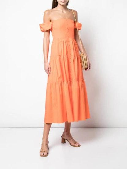 Off-Shoulder Button Up Dress