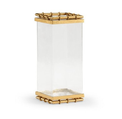 """12"""" Square Bamboo Vase, Clear/Gold"""