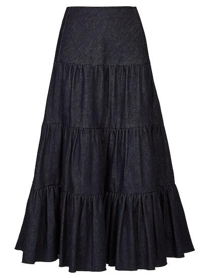 Tiered Raw-Hem Denim Midi Skirt