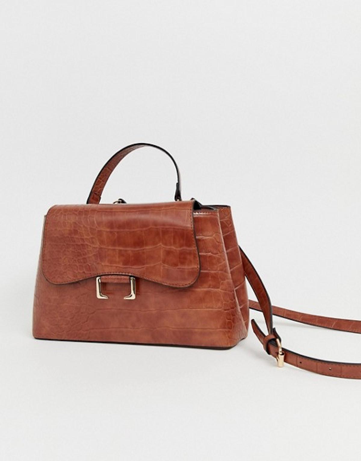 ASOS DESIGN croc city bag with curved flap detail
