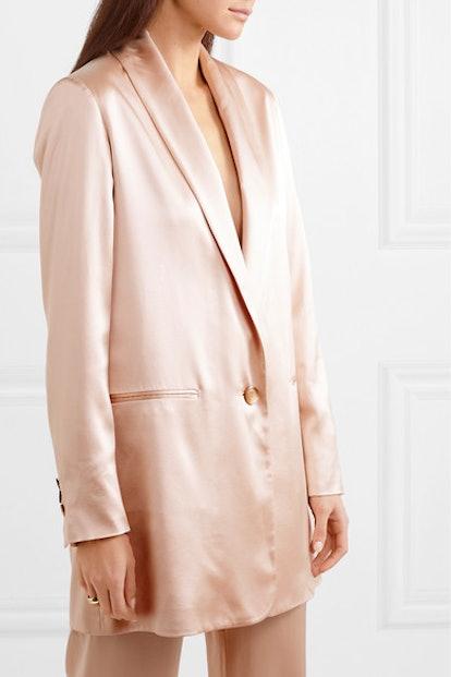 Amandine Oversized Silk-Satin Blazer