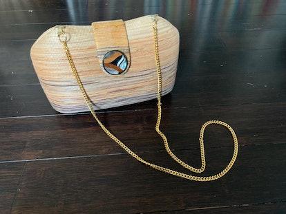1980s J Renee Hard Shell Woven Handbag with Gold Chain