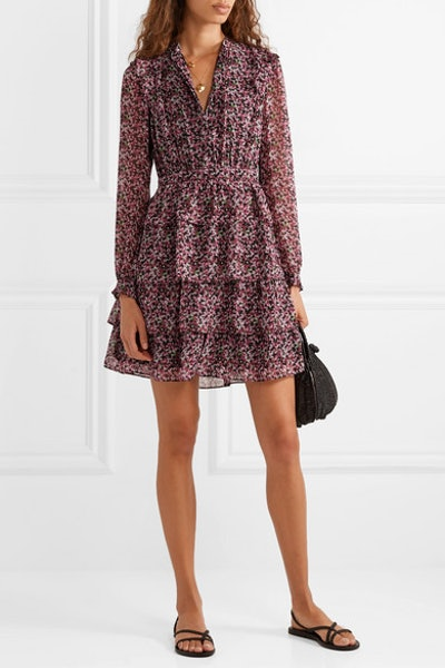 Ruffled Tiered Floral-Print Chiffon Mini Dress