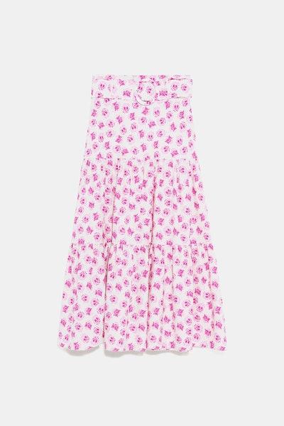 Belted Print Skirt