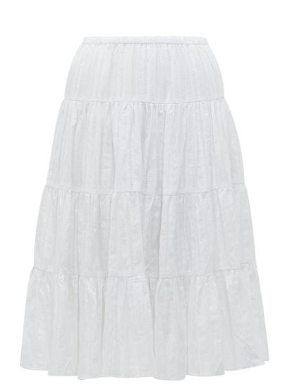 Falco Jacquard-Stripe Cotton Midi Skirt