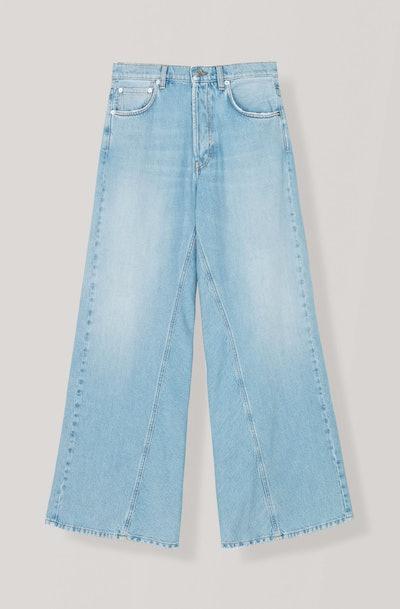 Washed Denim Wide Pants