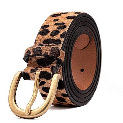 Loklik Women's Leopard Print Leather Belt