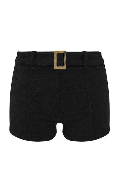Seer-Sucker Belted Swim Shorts