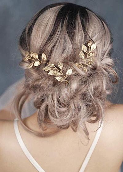 FXmimior Vintage Gold Leaf Hair Pins (3-Pack)