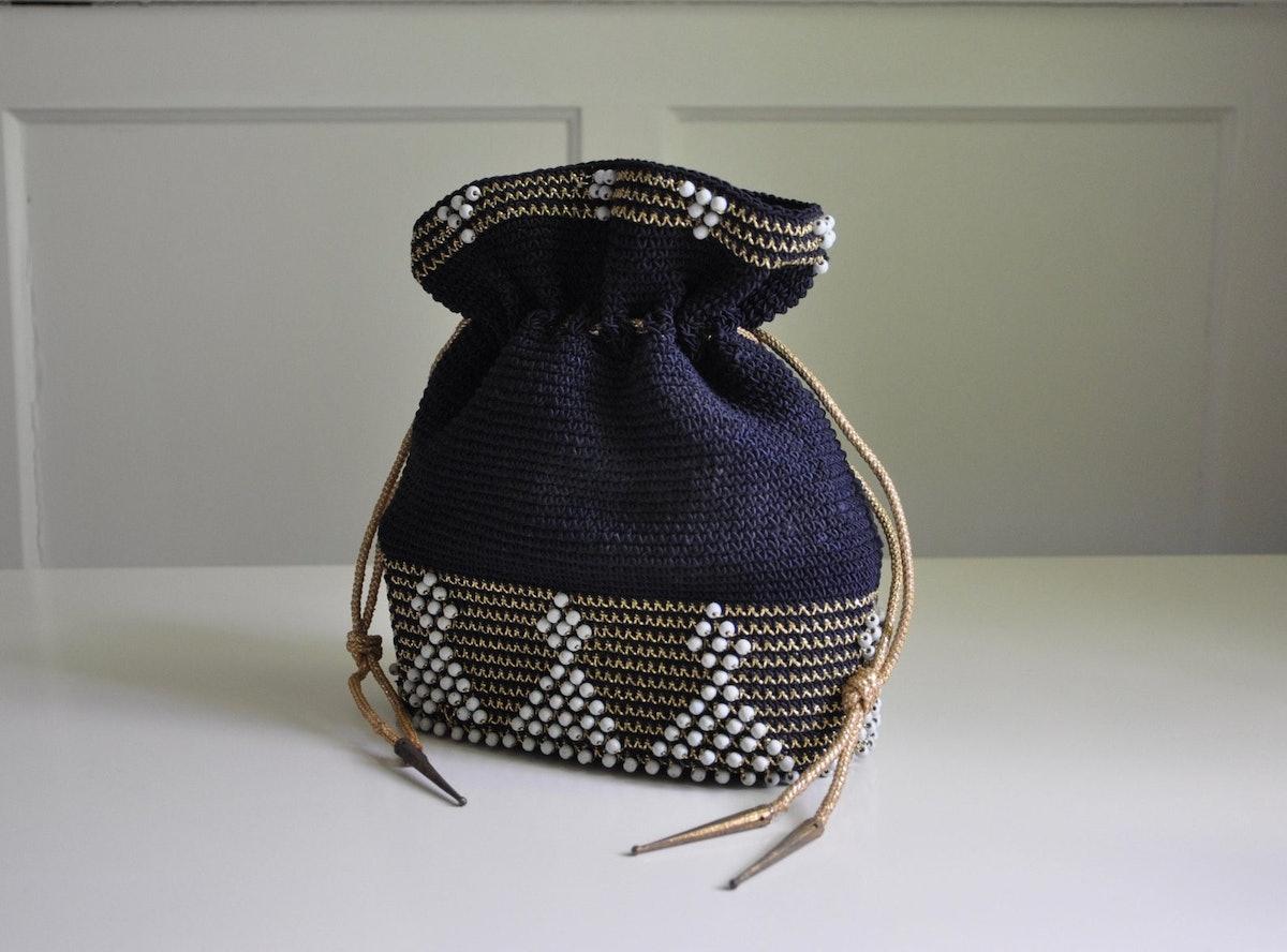 1940's Woven Beaded Crochet Drawstring Purse