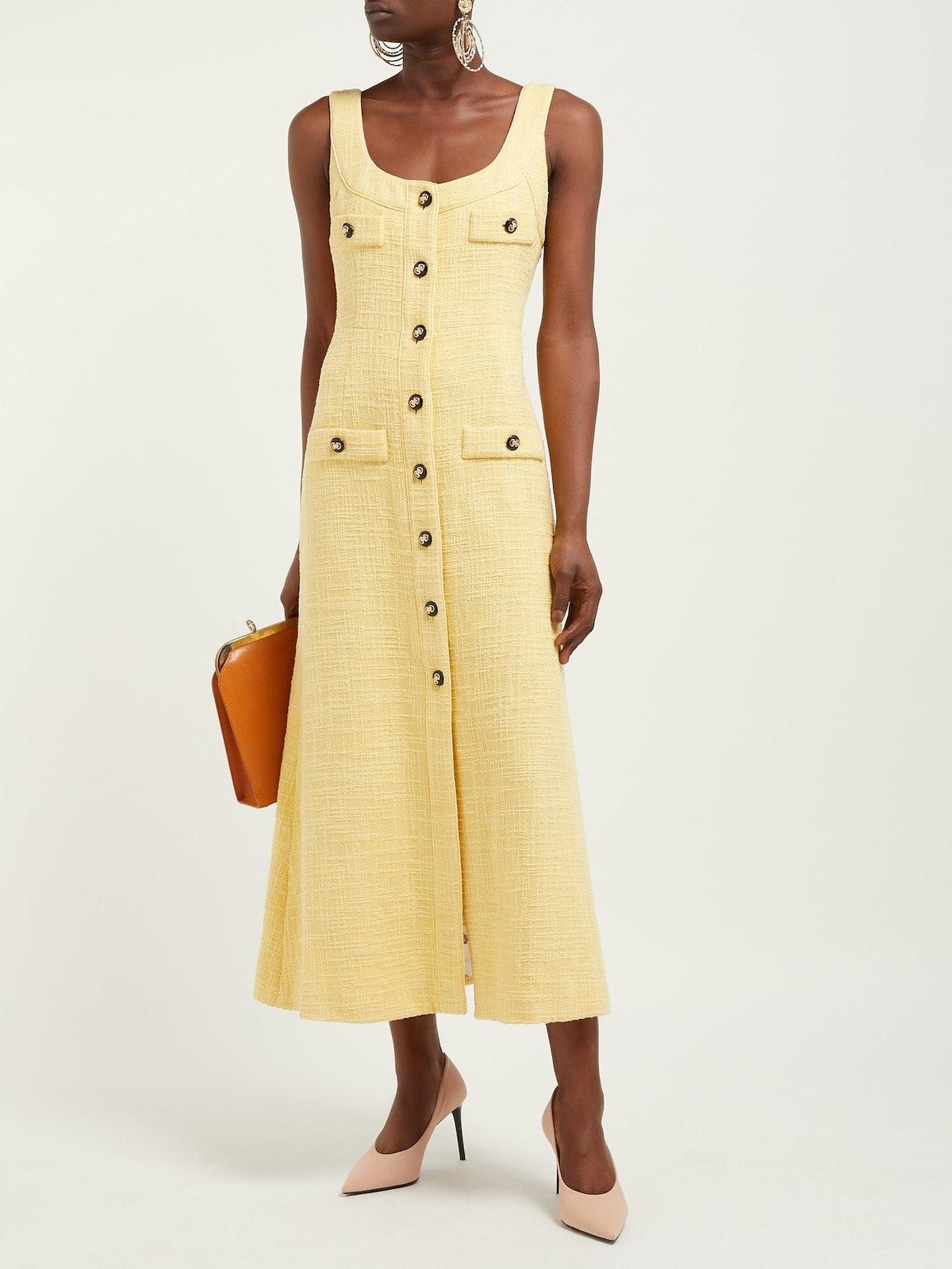 Buttoned Cotton-Blend Tweed Dress