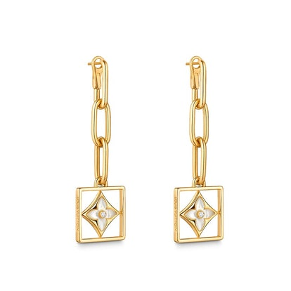B Blossom Earrings in Yellow Gold with White Mother of Pearl and Diamonds