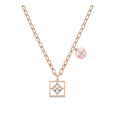 Blossom Necklace in Pink Gold, White Gold, Pink Opal, White Mother-of-Pearl, and Diamonds