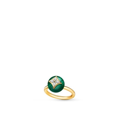 B Blossom Ring in Yellow Gold, White Gold, Malachite and Diamonds
