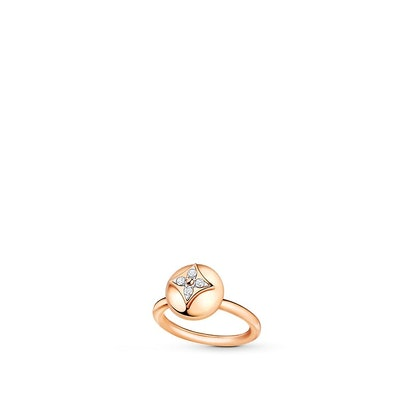 B Blossom Ring in Pink Gold, White Gold, and Diamonds