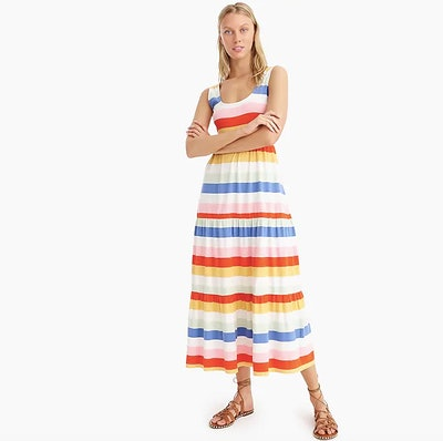 Tiered Knit Maxi Dress In Rainbow Wide Stripe