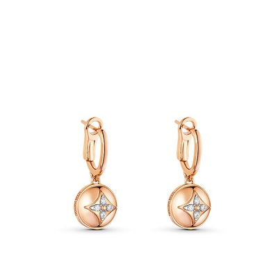 B Blossom Earrings in Pink Gold, White Gold and Diamonds