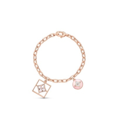 B Blossom Bracelet in Pink Gold, White Gold, Pink Opal, White Mother-of-Pearl and Diamonds