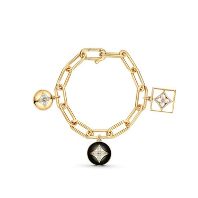 B Blossom Bracelet in Yellow Gold, White Gold, Onyx, White Mother-of-Pearl and Diamonds