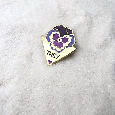 THEY/Pansy Enamel Pin