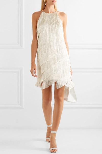 Tiered Fringed Satin-Crepe Mini Dress