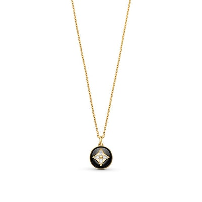 B Blossom Medallion in Yellow Gold, White Gold, Onyx and Diamonds
