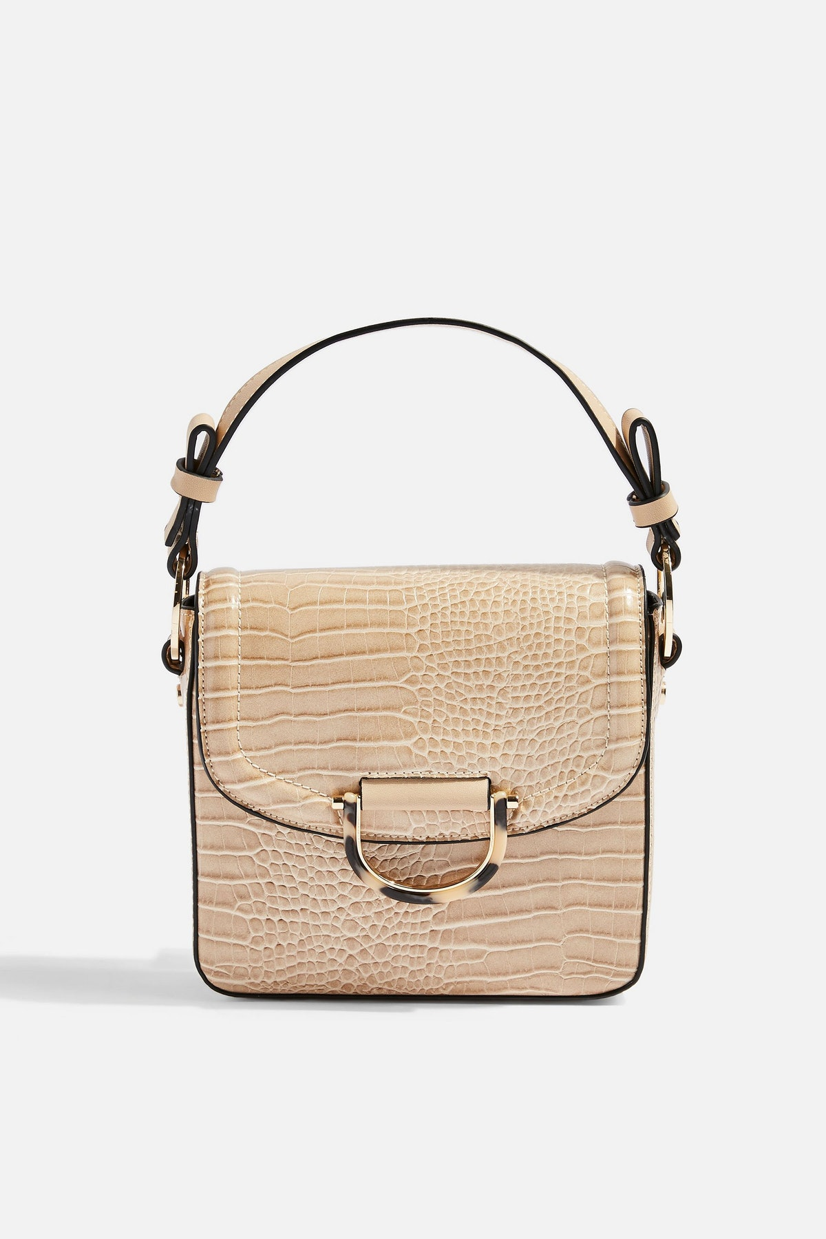 CARRIE Stone Crocodile Shoulder Bag