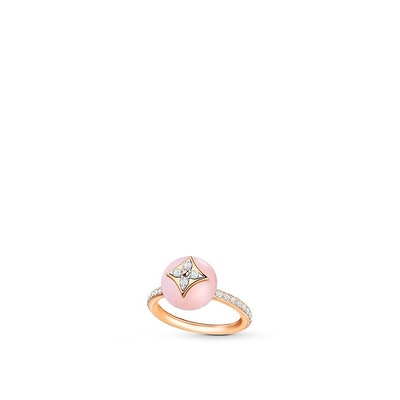 B Blossom Ring in Pink Gold, White Gold with Pink Opal and Pavé Diamond