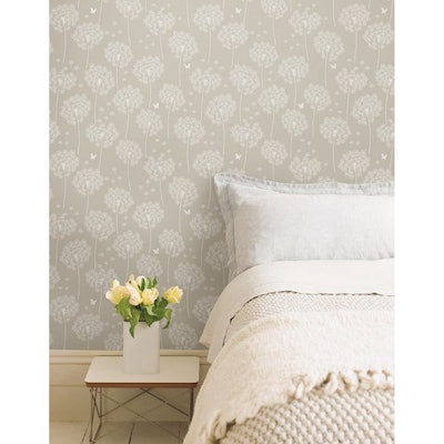 Brewster Dandelion Taupe Peel and Stick Wallpaper