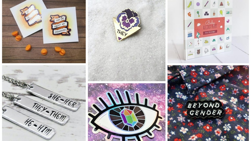 a collage of items from lgbtq sellers on etsy