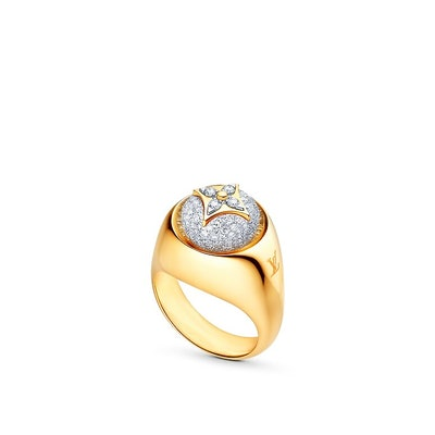 B Blossom Signet Ring in Yellow Gold, White Gold and Pavé Diamond