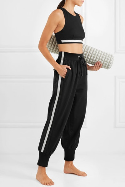 Ano'e Striped Stretch cotton-Blend Track Pants