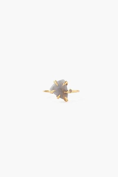 Mystic Grey Moonstone Arrowhead And Champagne Diamond Ring