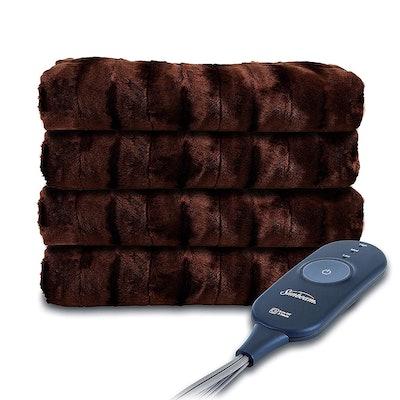 Sunbeam Faux Fur Heated Throw Blanket