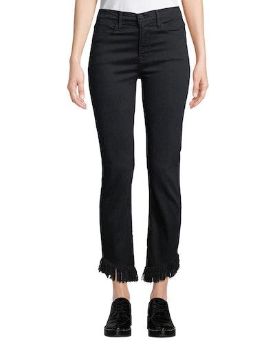 Le High Straight-Leg Jeans With Shredded Hem