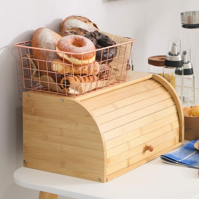 Betwoo Natural Wooden Roll Top Bread Box