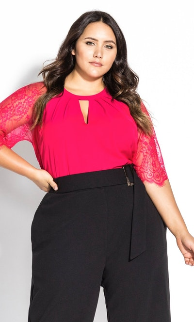 City Chic Short Lace Sleeve Top